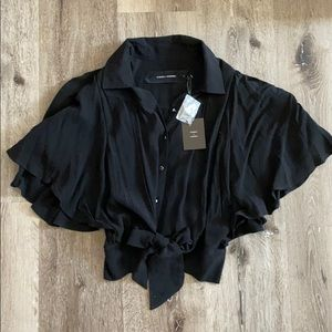 NWT Nordstrom Black Crop Flutter Top Button Blouse